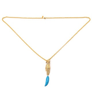 "De Buman 18K Yellow Goldplated & Turquoise ""Hand"" Necklace"