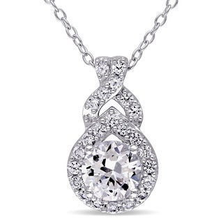 Miadora Sterling Silver Created White Sapphire Drop Necklace