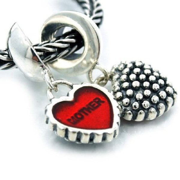 Queenberry Sterling Silver Mother and Daughter Red Heart Dangle European Bead Charm