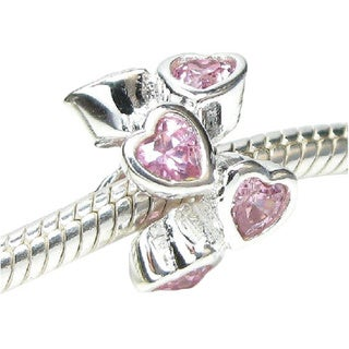 Queenberry Sterling Silver Pink Cubic Zirconia Endless Heart European Bead Charm