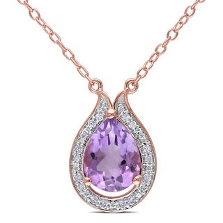 Miadora Rose Plated Sterling Silver Rose de France and 1/10ct TDW Diamond Necklace (G-H, I2-I3)