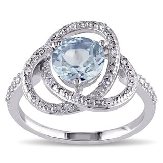 Miadora Sterling Silver Blue Topaz and 1/10ct TDW Diamond Love Knot Ring (G-H, I2-I3)