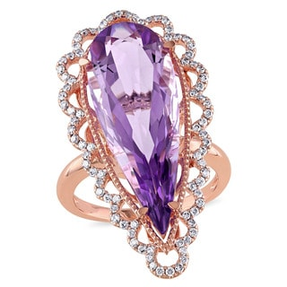 Miadora 14k Rose Gold Pink Amethyst and 2/5ct TDW Diamond Teardrop Ring (G-H, SI1-SI2)