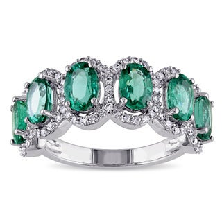 Miadora 14k White Gold Emerald and 2/5ct TDW Diamond Anniversary Ring (G-H, SI1-SI2)