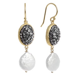 14k Gold Over Sterling Silver Black Crystal Oval Drop Earrings with Freshwater Pearls