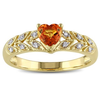 Miadora 10k Yellow Gold Orange Sapphire and Diamond Accent Heart Ring