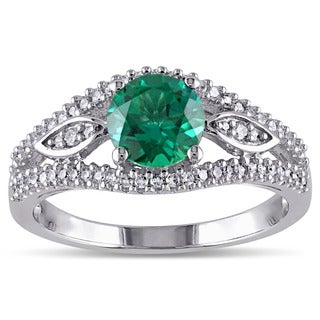 Miadora 10k White Gold Created Emerald and 1/4ct TDW Diamond Ring (G-H, I2-I3)