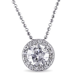 Miadora 14k White Gold 1 1/6ct TDW Diamond Solitaire Necklace (G, I1) (GIA)
