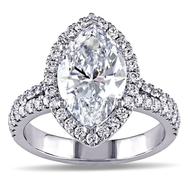 Miadora 18k White Gold 3 3/4ct TDW Marquise Diamond Halo Engagement Ring (D, SI2)