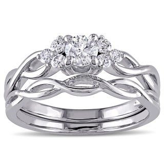 Miadora Signature Collection 14k White Gold 1/2ct TDW Diamond Bridal Ring Set (G-H, I1-I2)