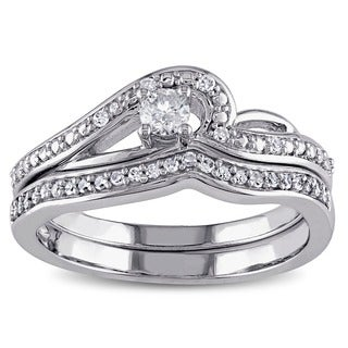 Miadora 10k White Gold 1/4ct TDW Diamond Bridal Ring Set (G-H, I2-I3)