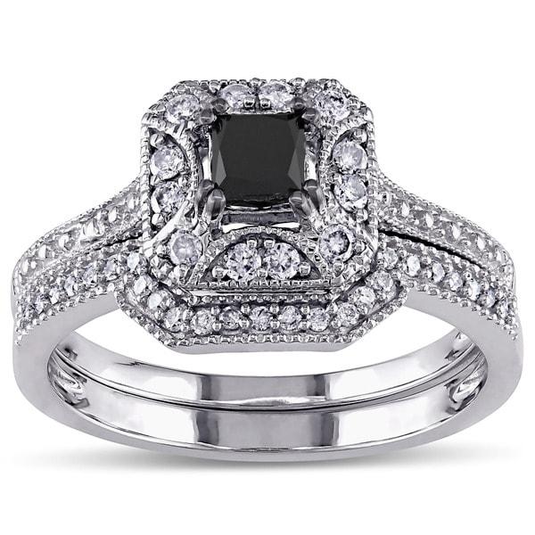 Miadora 10k White Gold 5 8ct TDW Black and White Diamond Engagement Wedding V