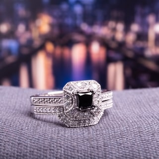 Miadora 10k White Gold 5/8ct TDW Black and White Diamond Bridal Ring Set (G-H, I2-I3)