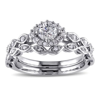 Miadora 10k White Gold 1/2ct TDW Diamond Bridal Ring Set (G-H, I2-I3)