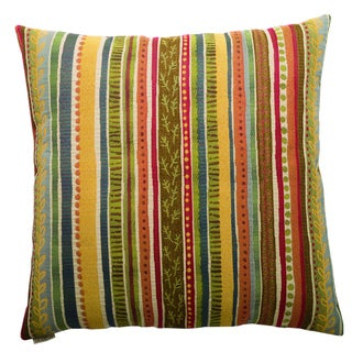 Party Stripe Decorative Feather and Down Filled 24-inch Throw Pillow