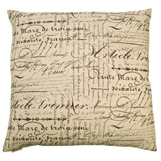 Font Decorative Feather and Down Filled 24-inch Throw Pillow