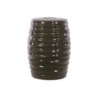 Ceramic Garden Stool Ribbed Gray