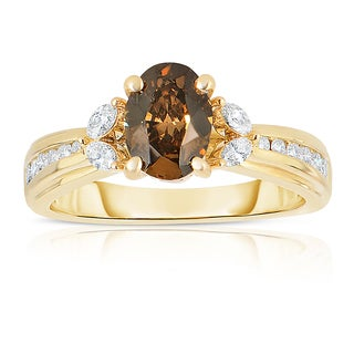 Eloquence 14k Yellow Gold 1 2/3ct TDW Oval Natural Cognac Diamond Engagement Ring (Brown, SI1-SI2)