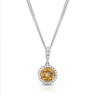Eloquence 18k Two-Toned Gold 1ct TDW Natural Cognac Double-Chain Diamond Dangle Pendant (Brown, SI1-SI2)