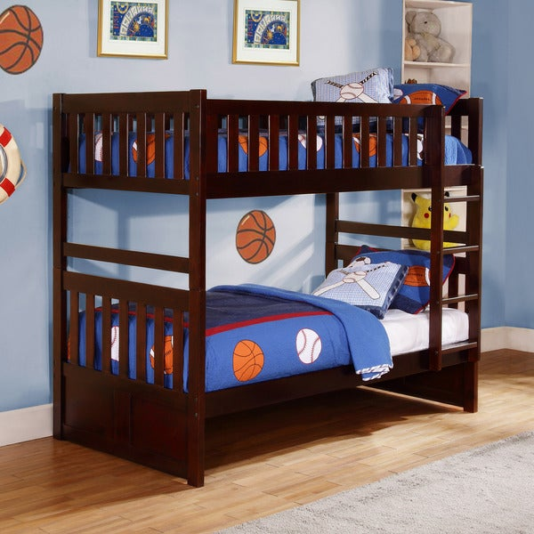 Hunter Traditional Dark Cherry Wood Bunk Bed