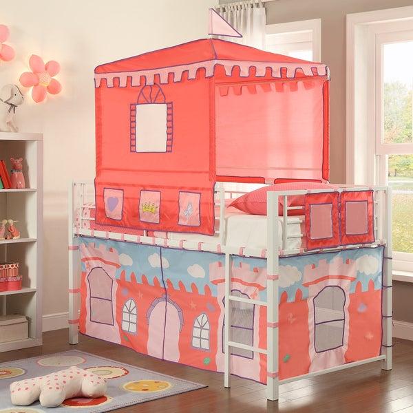 Princess White Castle Metal Loft Bed