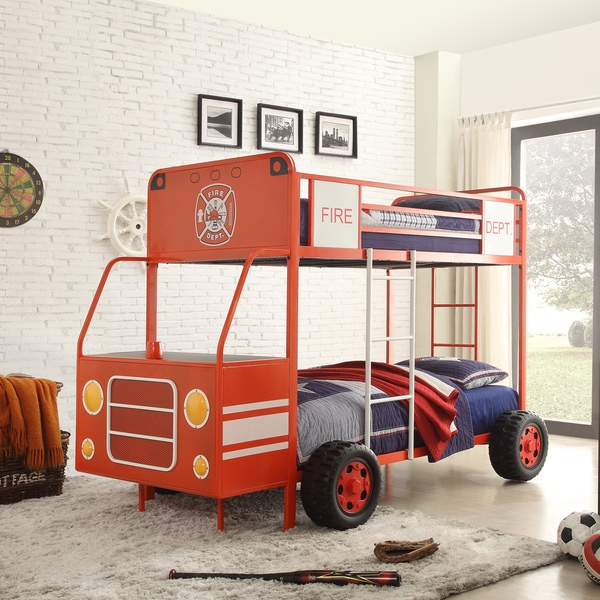 Xavier Red Fire Engine Metal Bunk Bed