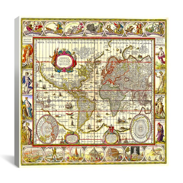 iCanvas Map of the World Canvas Print Wall Art
