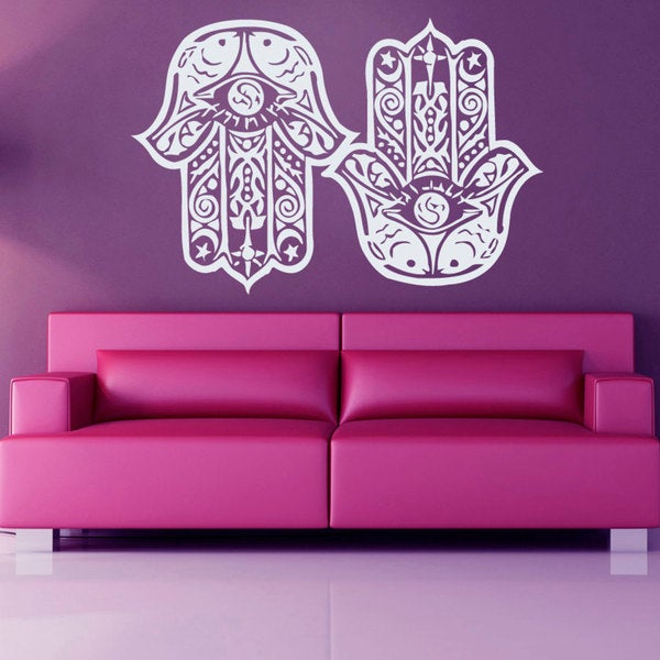White Hamsa Fatima Hand Sticker Vinyl Wall Art