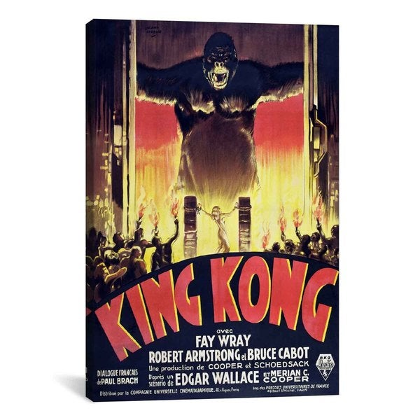 iCanvas King Kong (Movie) Advertising Vintage Poster #5228 Canvas Print Wall Art