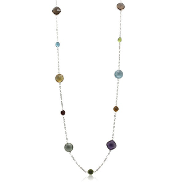Sterling Silver Channel-set Multi-cemstone Necklace