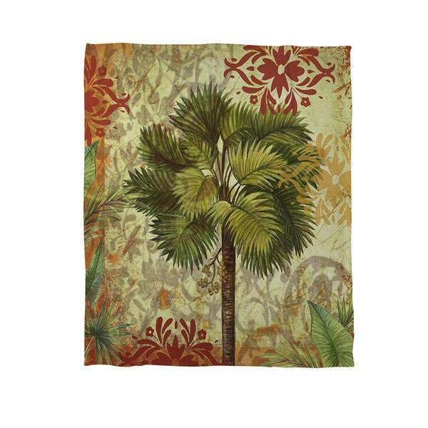 Thumbprintz Palms Pattern IV Coral Fleece Throw