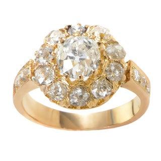 18k Yellow Gold 2ct TDW Diamond Cluster Vintage Edwardian Estate Ring (G-H, SI1-SI2) (Size 4.25)
