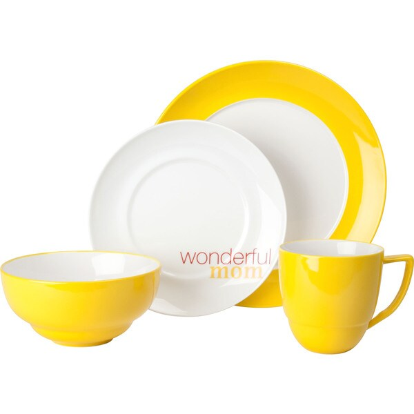 Waechtersbach Uno Curry 'Wonderful Mom' 4-Piece Place Setting 15238935
