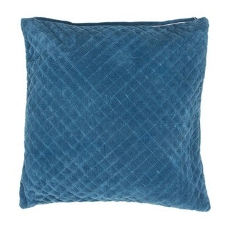 Handmade Solid Blue 22-inch Throw Pillow