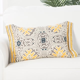 Handmade Tribal Yellow/Ivory 14-inch Throw Pillow