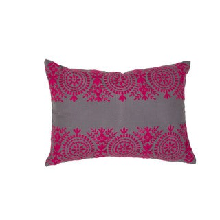Handmade Floral Pink/Grey 14-inch Throw Pillow
