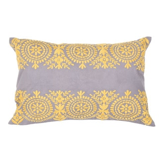 Handmade Floral Yellow/Grey 14-inch Throw Pillow