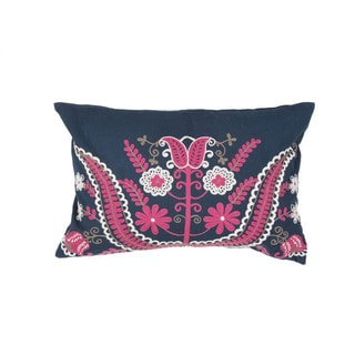 Handmade Floral Pink/Blue 14-inch Throw Pillow