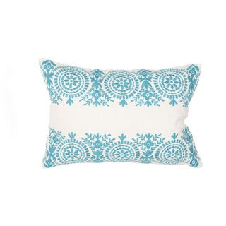 Handmade Floral Blue/Ivory 14-inch Throw Pillow