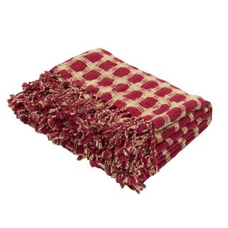 "Handmade Cotton Red (51""x71"") Throw"