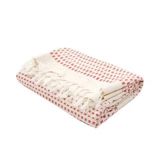 "Handmade Cotton Red (50""x60"") Throw"