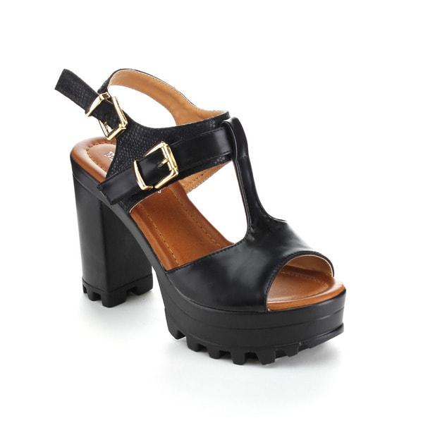 Beauty Heel ANAIS-02 Women's Open Toe T-strap Chunky Heel Flatform Heels