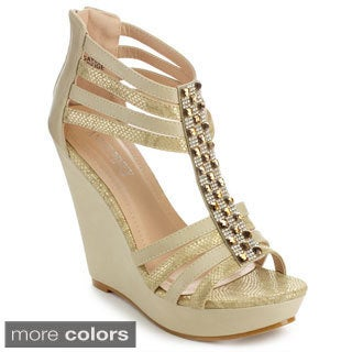 Annie Pinky GAYLE-01 Women's Open Toe Strappy Platform Wedges