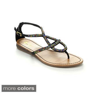 Queen Chateau ALDA-1 Women's Ankle Strap Gladiator Style Flat Sandals