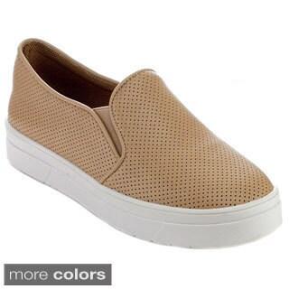 Reneeze OMA-02 Women's Perforated Pattern Slip-on Elastic Sneakers