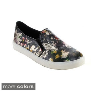 Reneeze OMA-02 Women's Slip-on Elastic Floral-Printed Sneakers