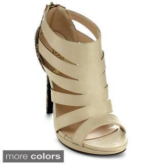 Athena BRINA-2 Women's Strappy Snake Skin Print Stiletto Heels