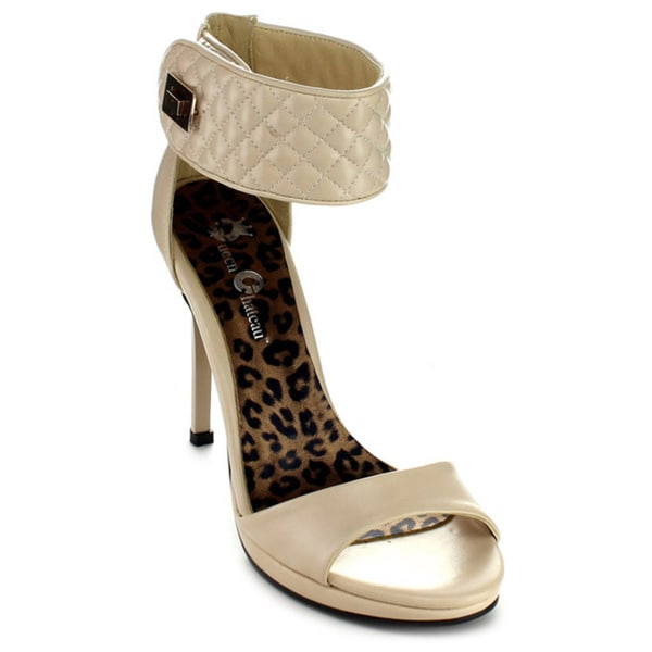 Queen Chateau TRACY-1 Women's Quilted Ankle Strap Stiletto Dress Heels