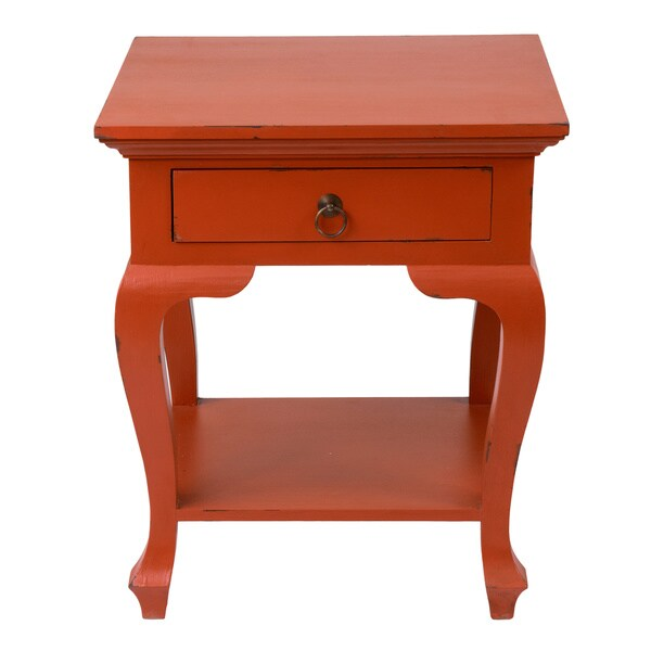 Decorative Alpine Casual Red Square Accent Table