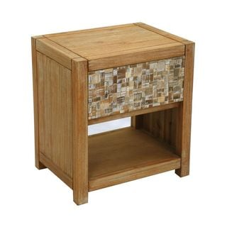 Decorative Agness Natural Tan Square Accent Table